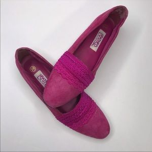 Vintage   Embroidered Boho Suede Leather Flats